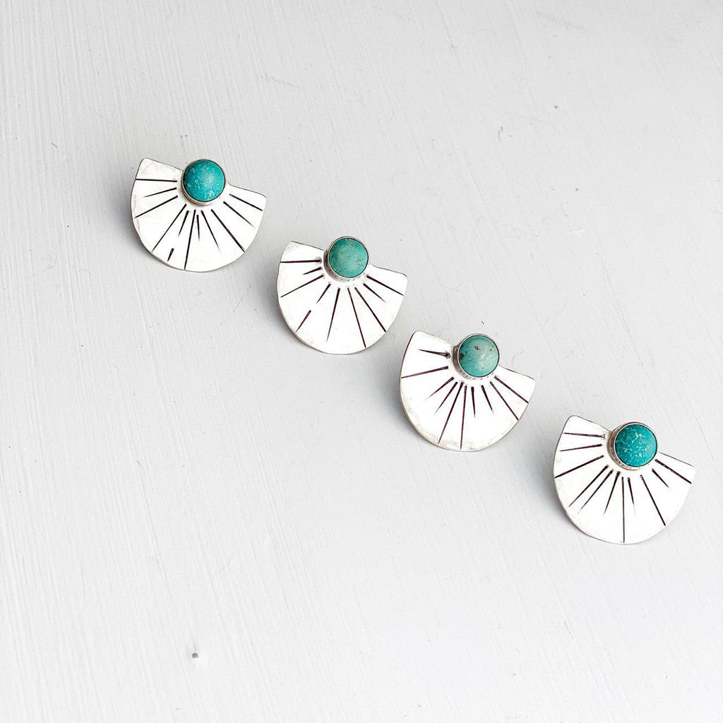 Solana Sunburst Turquoise Studs-Earrings-Betina Roza