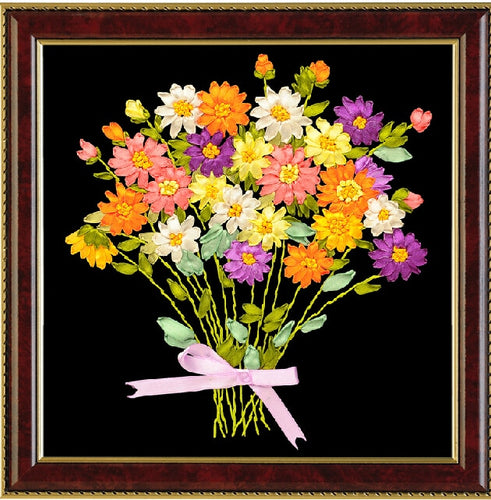 2015 New DIY Ribbon Embroidery for Beginner Painting pictures Needlework Kits 3D cross stitch Fashion Pattern Home Decor Flowers
