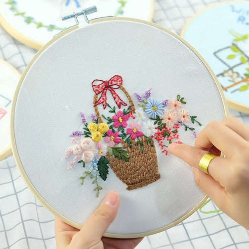 Needlework 3D Embroidery Patterns Flower Basket Kits DIY Sewing Painting Cross Stitching Sets Handmade Art Craft Gift Supply