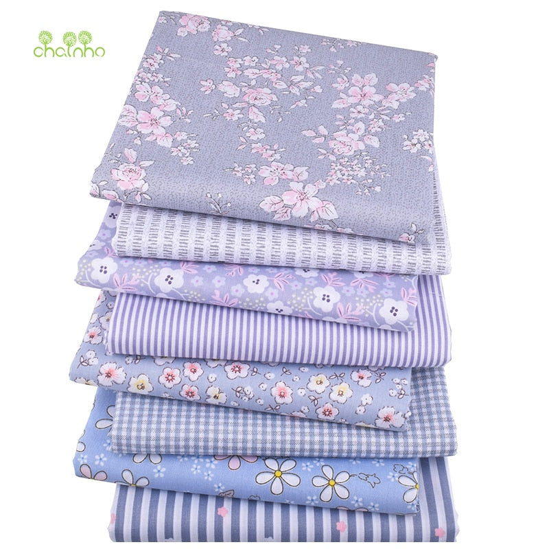 Chainho,Gray Floral Series,8pcs/lot,Printed Twill Cotton Fabric,Patchwork Cloth,DIY Sewing Quilting Material For Baby & Children