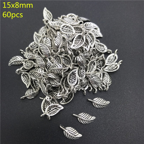 8x15mm 60pcs Alloy Beads Cap Ancient Silver Charms Key Shape Pendant Charms For Jewelry Making DIY Accessories PJ021