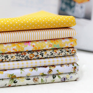 7pcs DIY Assorted Pattern Floral Printed Patchwork Cotton Fabric Cloth Crafts Bundle Sewing Quilting 25x25cm