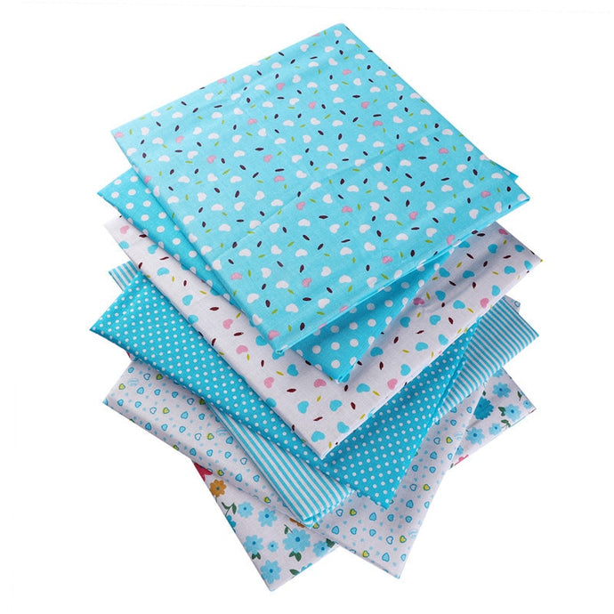 Blue 50X50cm 100% Cotton Floral Flowers Heart Dots Striped Fabric For Doll Patchwork Clothes Sewing Needlework Home Textile53118