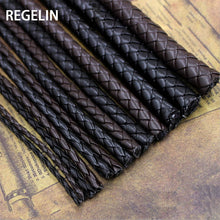 Load image into Gallery viewer, REGELIN 5meter Brown Braided PU Leather Bracelet Findings 3/4/5/6mm Round Leather Cord String Rope DIY Necklace Bracelet Making