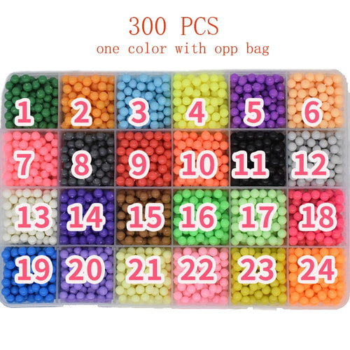300pcs Aqua Pegboard Water Beads Diy Toys For Children Hama Bead Set Fuse Jigsaw Kids Educational Puzzle Girl Boy Beadbond Toy