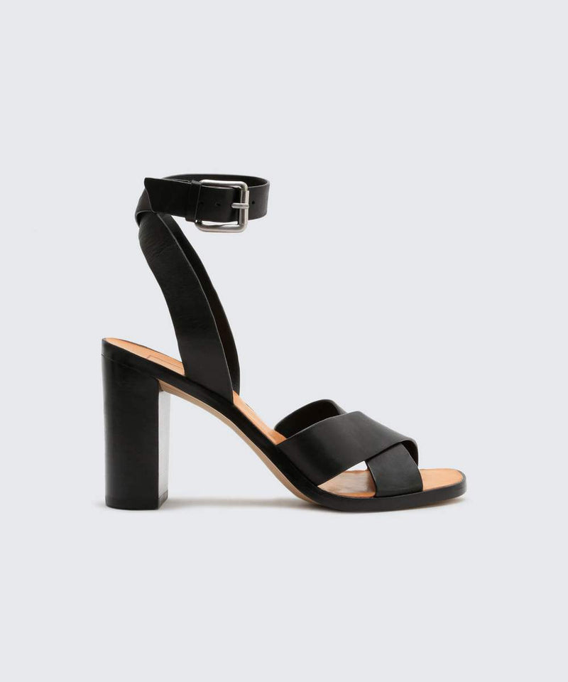 "Meet your new favorite day-to-night sandal. Nala's height and sophisticated crisscross straps make her perfect for nightlife and date nights, while her understated silhouette feels just as appropriate for bright spring days. 100% Leather Heel Height: 3.6"". Fits true to size. Dolce Vita is proudly sold at Jax Kendall."