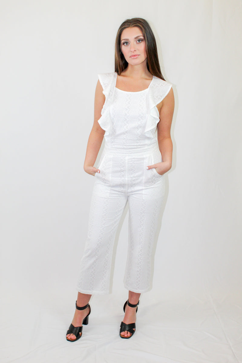 How to Wear: Best Seller! This white jumpsuit is absolute perfection! It will do it's job and make you feel and look beautiful! Pair with your favorite heels. Details: Textured jumpsuit Ruffle sleeve detailing. Front pockets. Criss-cross open back detailing. Color: White 100% Cotton Lined.