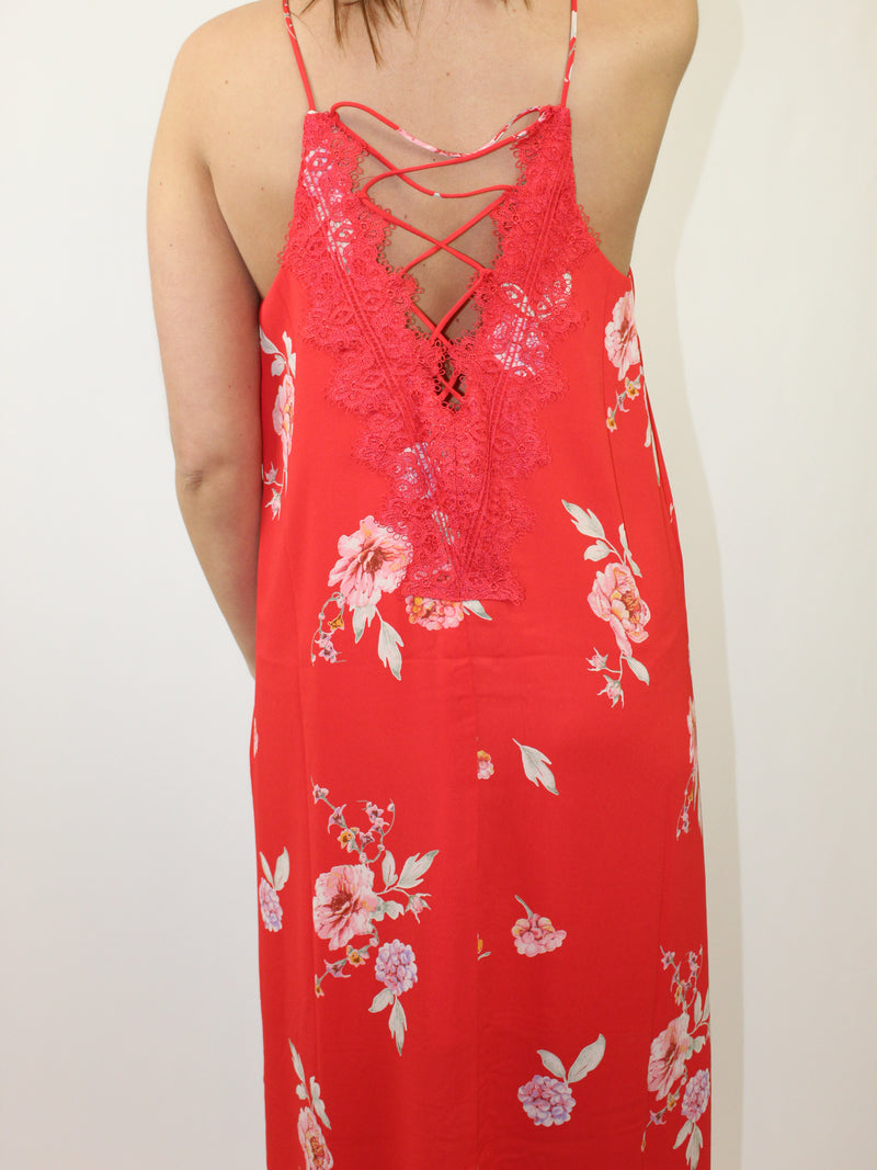 How to Wear: Girl, the vibes coming from this red, floral maxi... With lace up detailing in the back, this dress is great to pair with peep toe heels. Date night anyone? The Details: Floral maxi dress Back lace up detailing Lace trim detail Color: Red-multi floral...