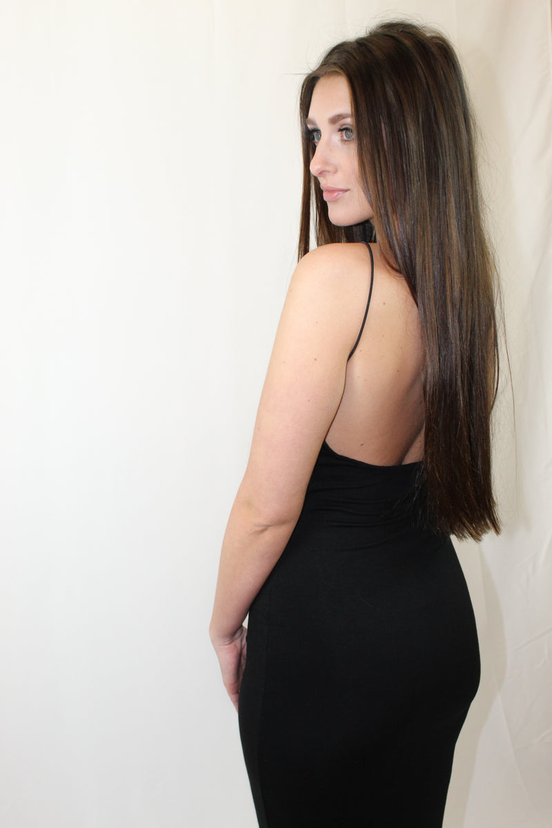 How To Wear: Night out and you've got to impress? The Quinn dress is exactly what you need. It's the absolute softest, yet form fitted dress you will ever own. This LBB from Lucca Couture will have heads turning. Details: Low Back. Stretchy, ultra soft material. Opaque black.