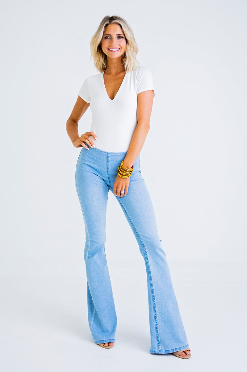 Pull On Flares- Medium Wash