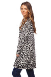 Tina Medium Length Soft Cardigan with Pockets - Leopard | BuddyLove Clothing Label