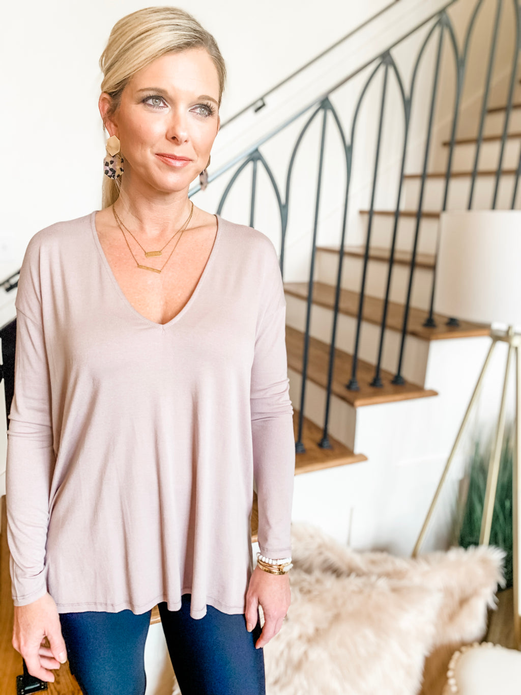 Everyday Basics- Mauve Long-Sleeved Top