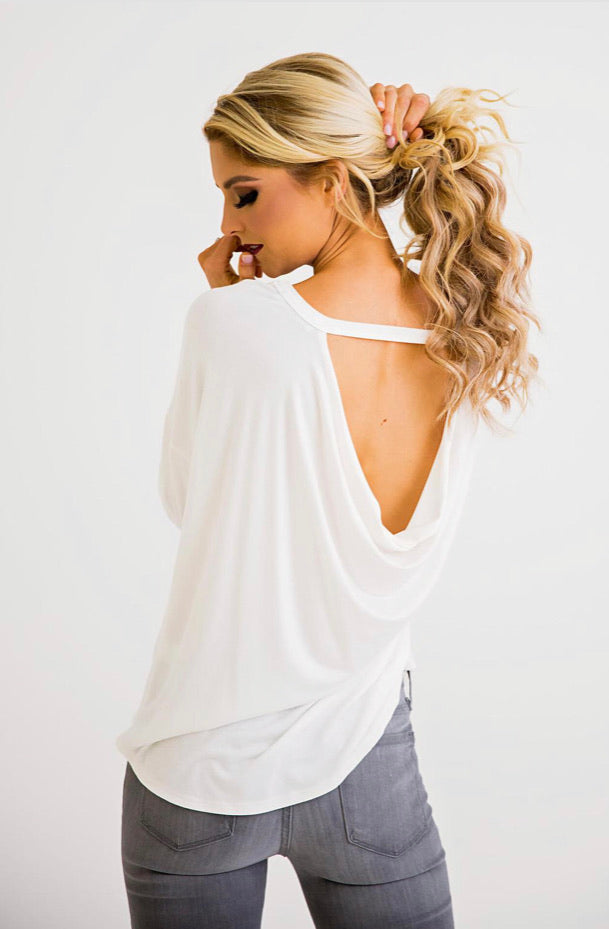 Karlie Ivory Scoop Back Top
