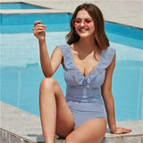 Sexy Female Retro V Neck Blue Striped Swimsuit One Piece Ruffled Push Up Padded High Waist
