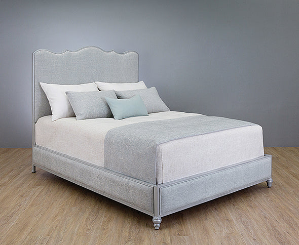 Evans - Queen Opaque Light Silver w/Mixology Moonstone Fabric Quick Ship 1252 - Ensley Fairfield Mattress Co.