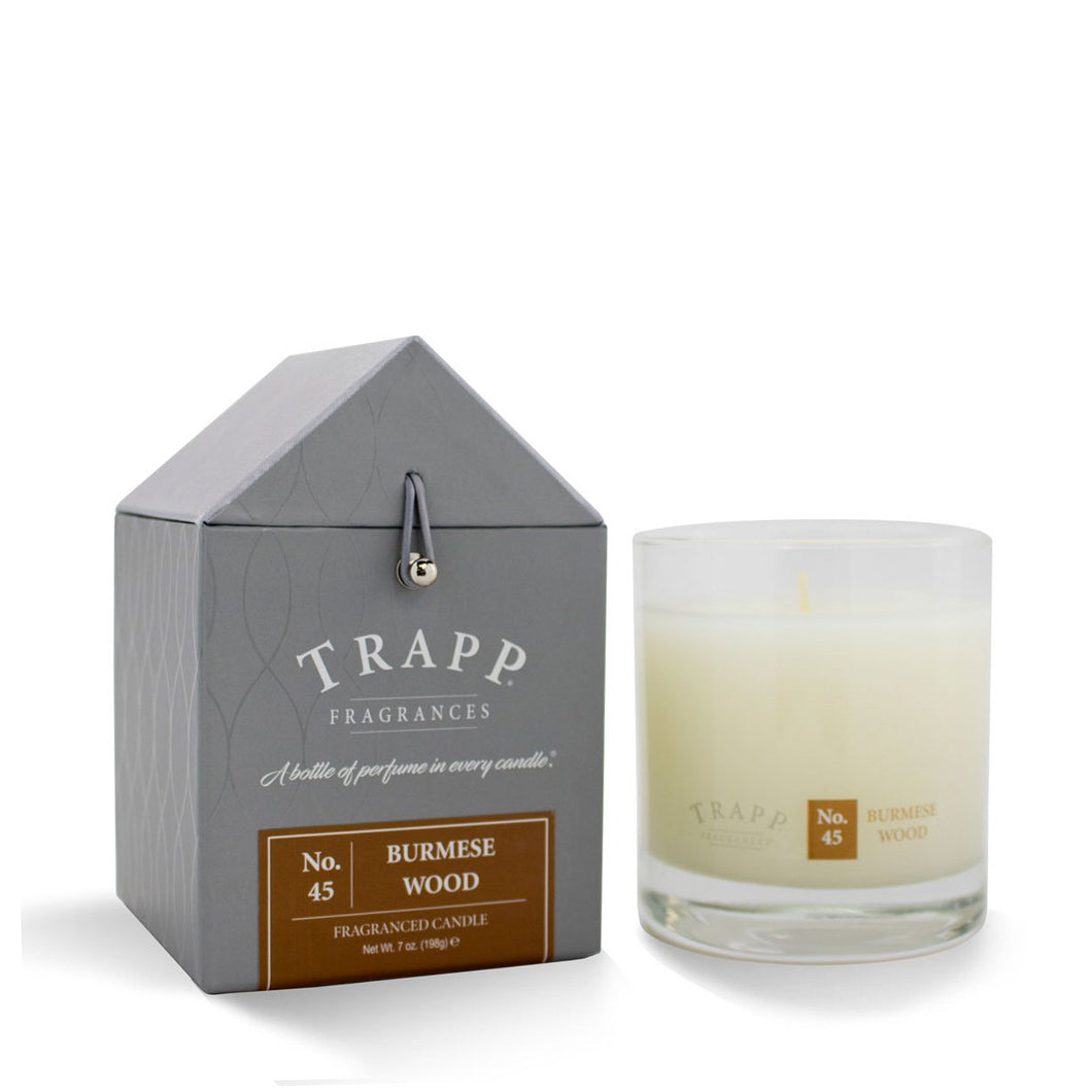 No. 45 Burmese Wood Trapp Candle - Ensley Fairfield Mattress Co.
