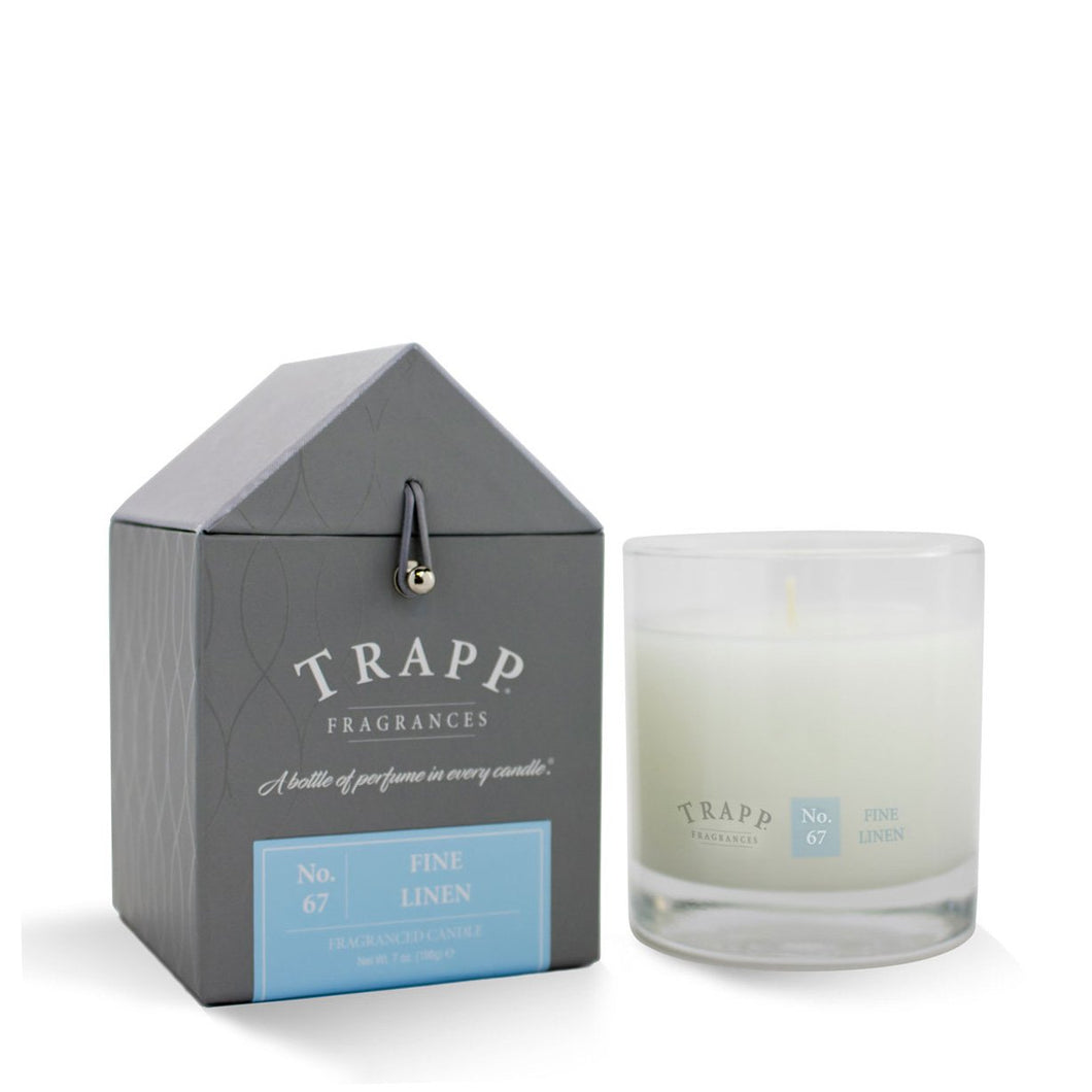 No. 67 Fine Linen Trapp Candle - Ensley Fairfield Mattress Co.