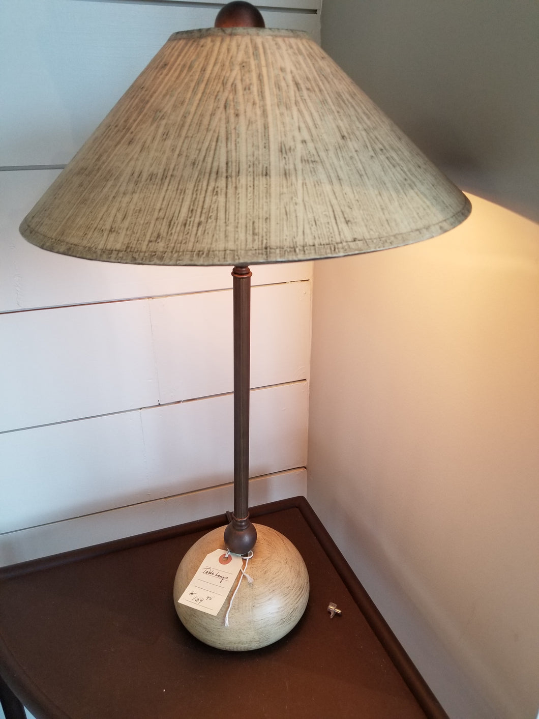 Sand colored table lamp - Ensley Fairfield Mattress Co.