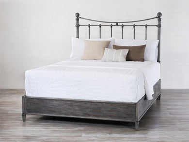 Quati Queen Weathered Gray w/Metal Surround - Quick Ship 1046MS - Ensley Fairfield Mattress Co.