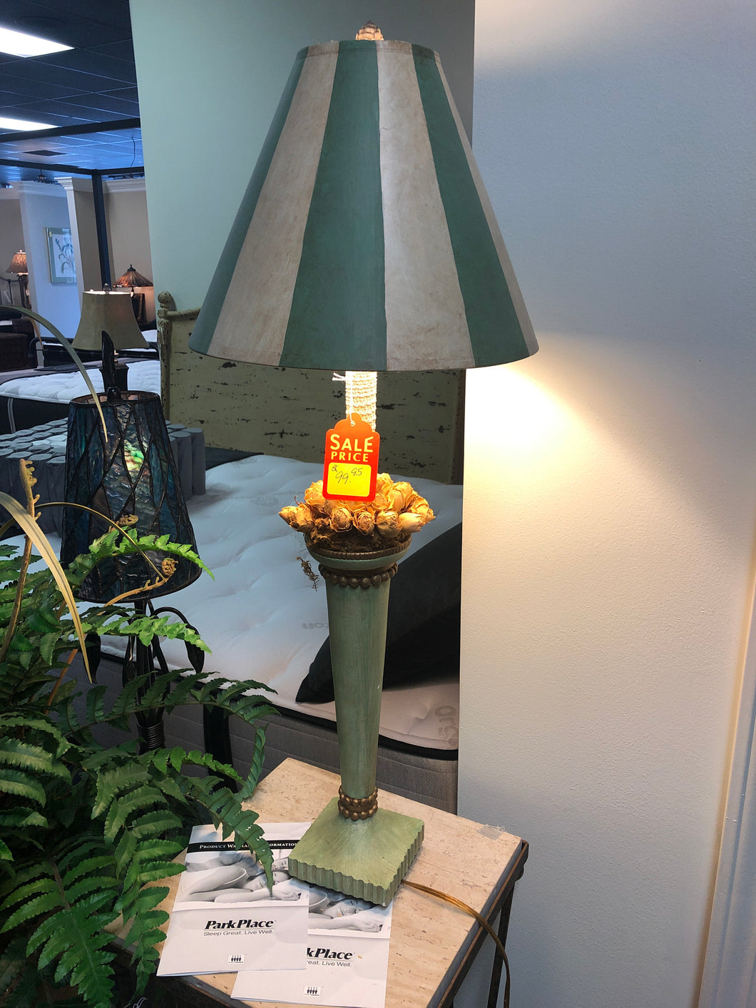 Painted Shade Rose Lamp - Ensley Fairfield Mattress Co.