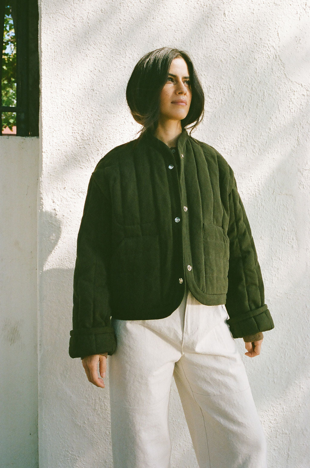 Cropped Quilted Jacket Olive grid image