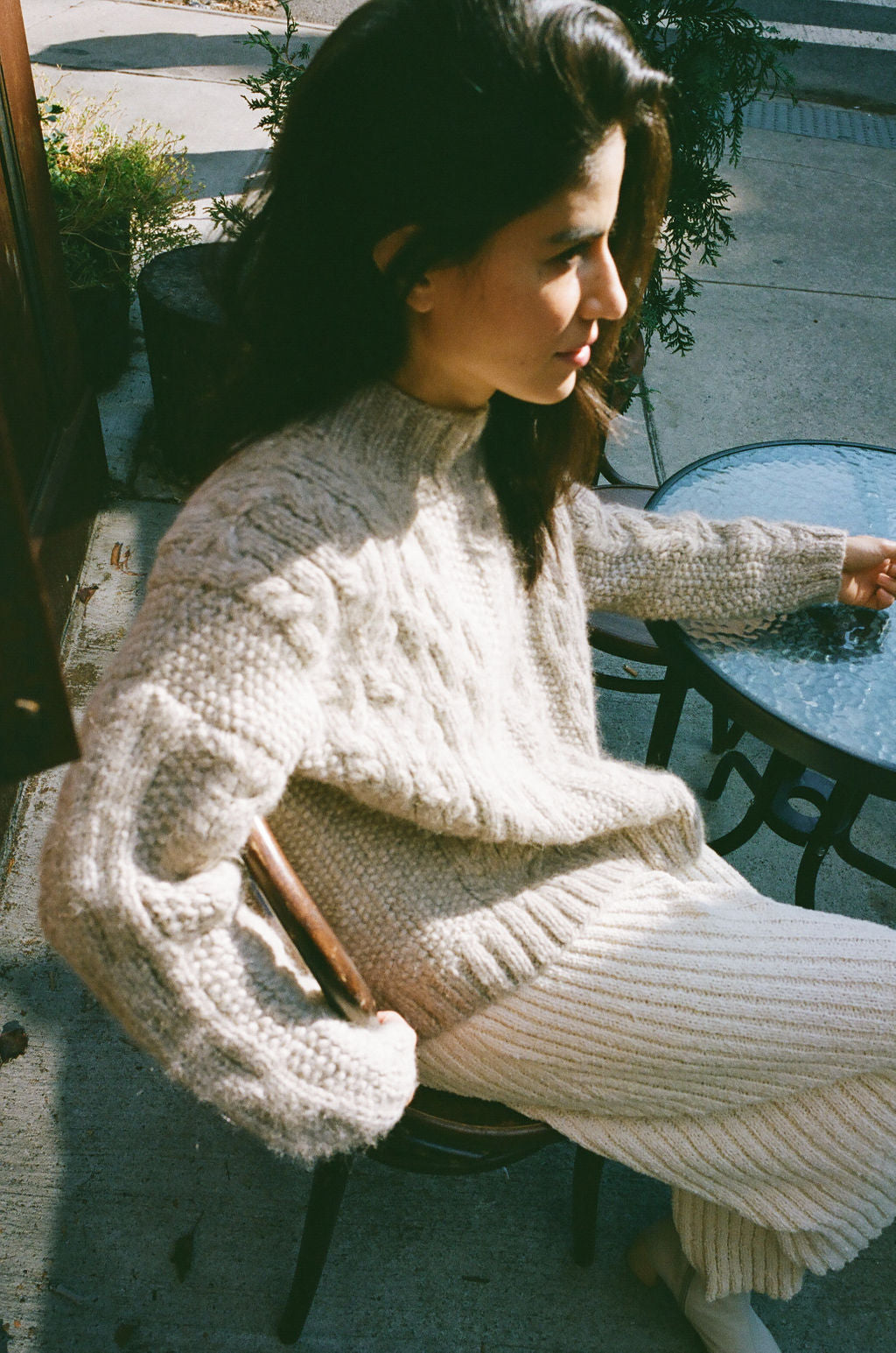 Finn Cable Knit Sweater Wheat grid image