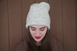 SEED STITCH HAT CREAM/CAMEL