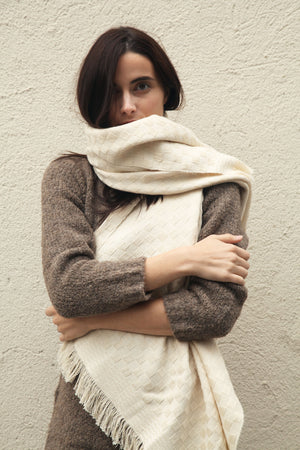 Basketweave Scarf Cream