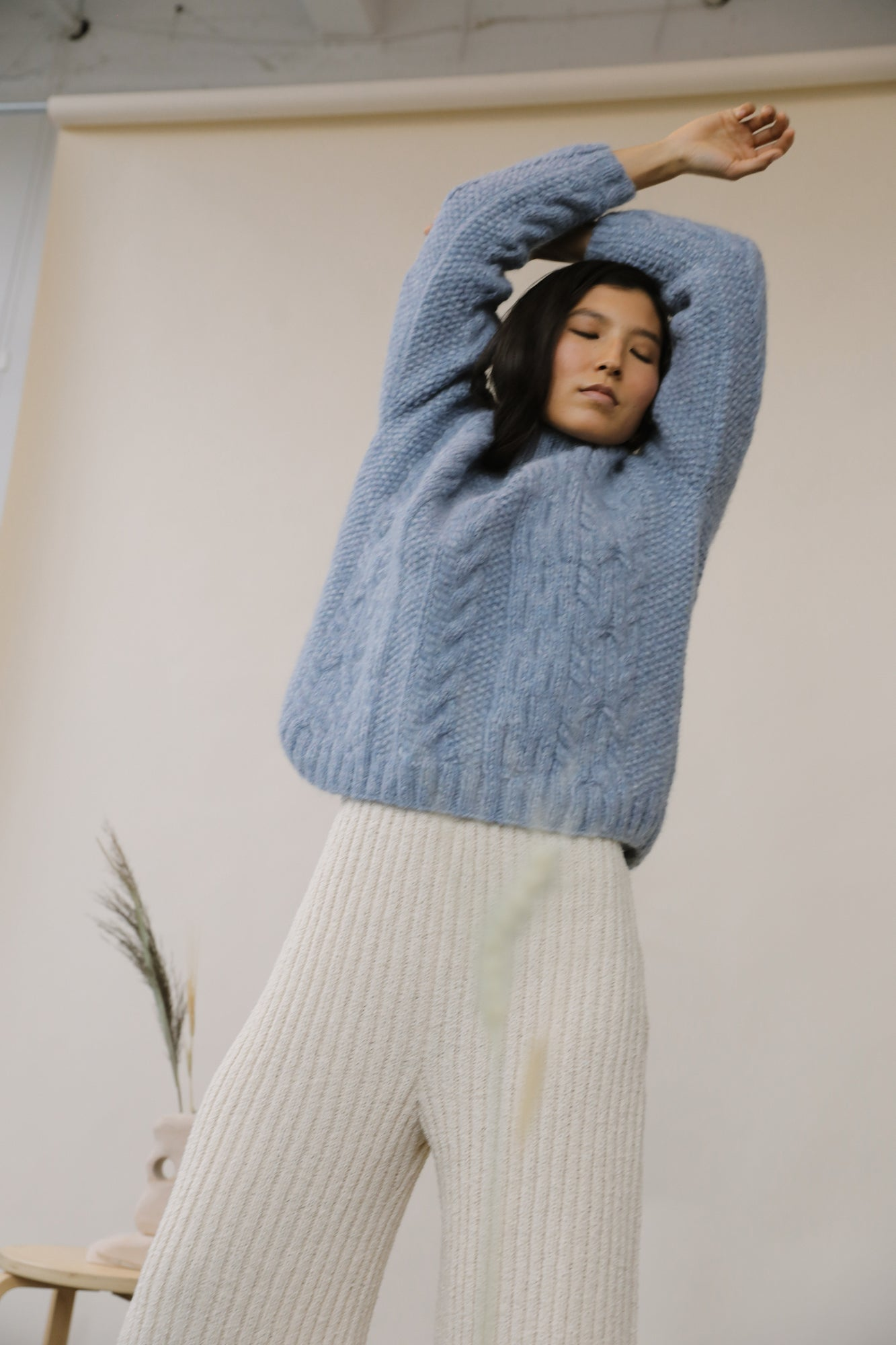 Finn Cable Knit Sweater Sky Blue grid image