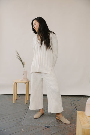 Florence Ribbed Pant Cream