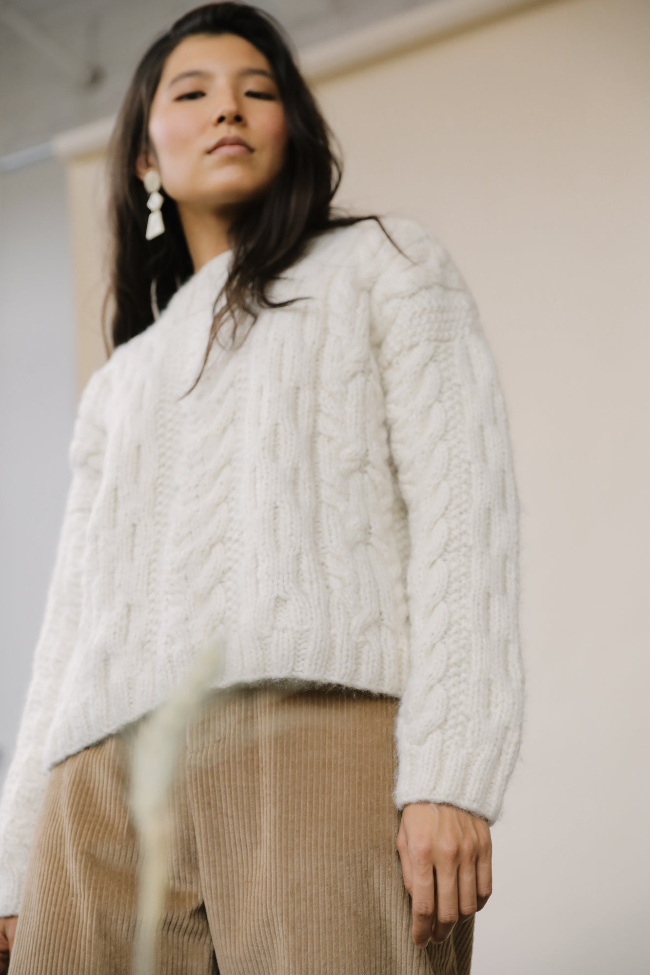 Finn Cable Knit Sweater Cream grid image