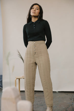 Riley Quilted Pants Sand