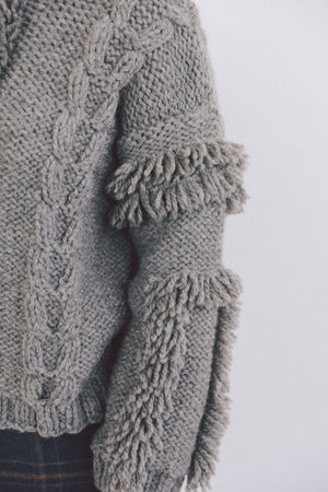 Cable Knit Fringe Sweater Grey