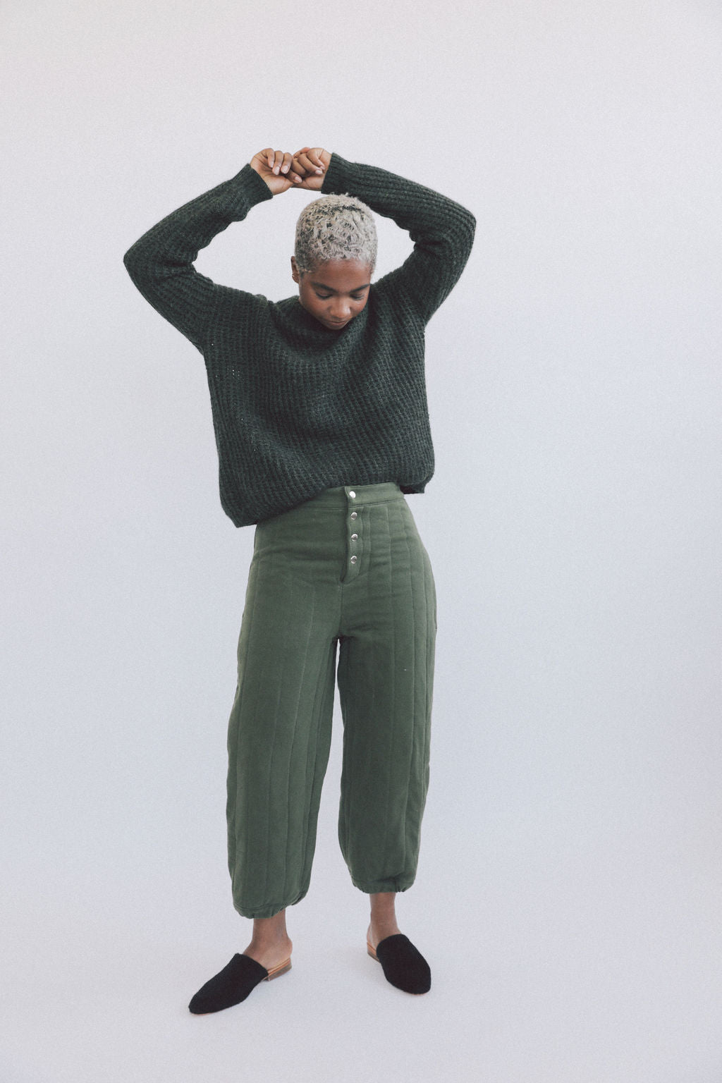 Kei Sweater Moss grid image