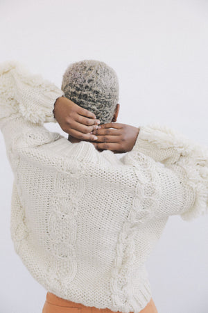 Cable Knit Fringe Sweater Cream