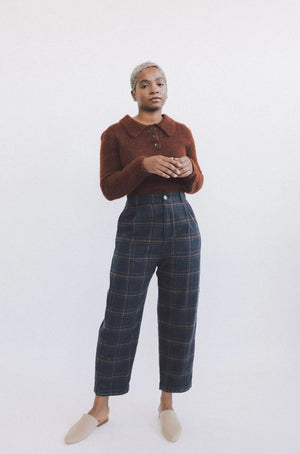 Eliana Trouser Navy Plaid