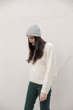 PLAITED RIB KNIT HAT GREEN/CREAM