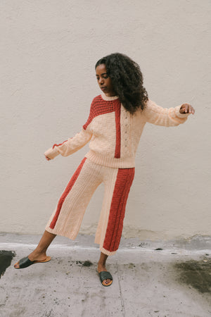 Gia Cable Knit Sweater Melon