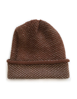 SEED STITCH HAT BROWN/CAMEL
