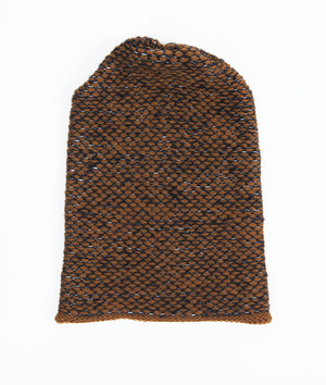 SEED STITCH HAT BROWN/DK GREY