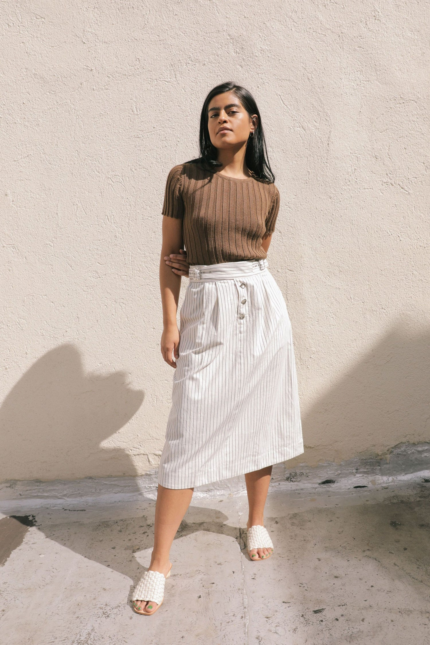 ELLIS SKIRT CREAM / BLACK STRIPE grid image