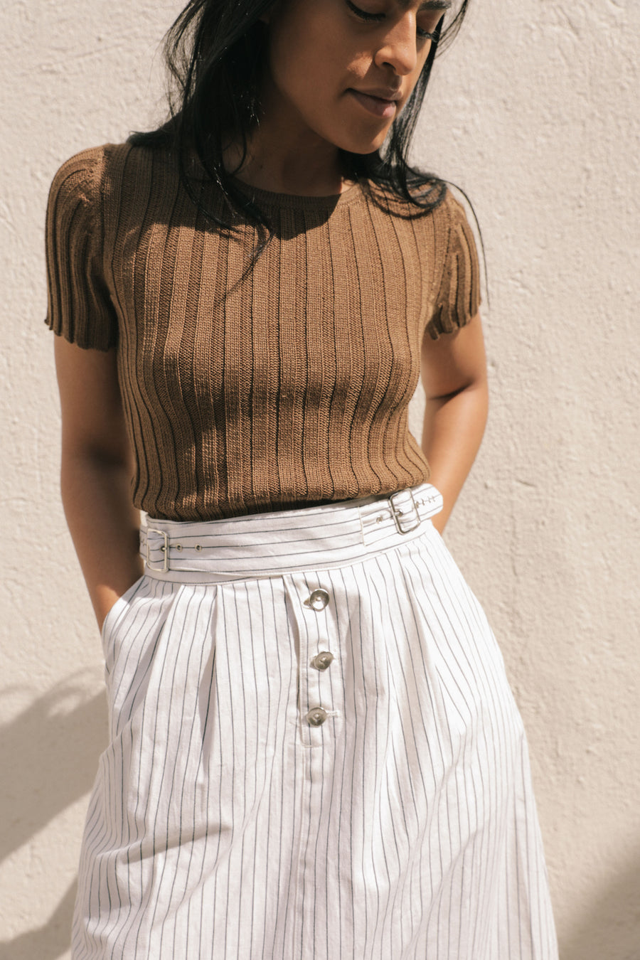 ELLIS SKIRT CREAM / BLACK STRIPE
