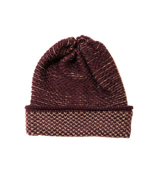 SEED STITCH HAT MAROON/CAMEL