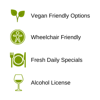 Vegan Friendly, Wheelchair Friendly, Alcohol License, Daily Specials Chacewater Garden Centre Cafe