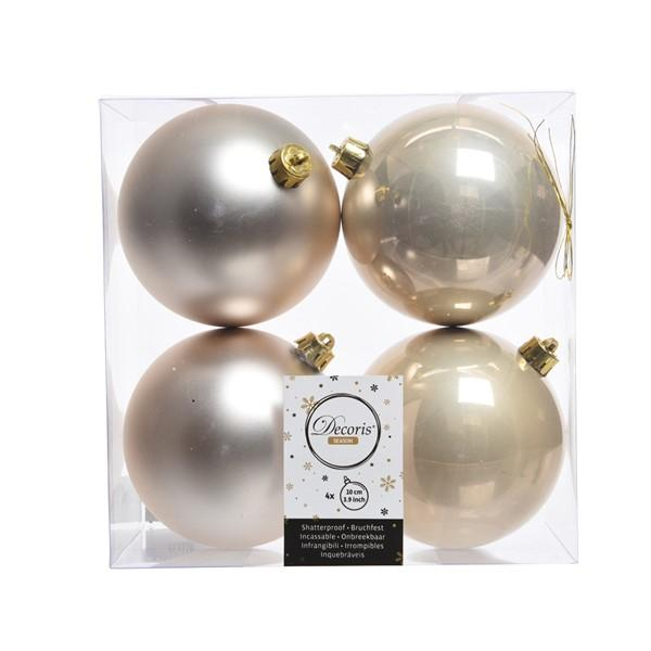 Plain Christmas Baubles Pack of 4 Shatterproof - Pearl