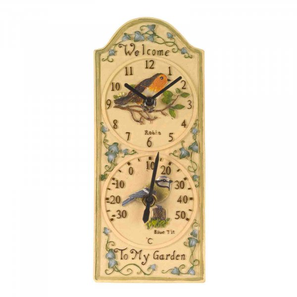 Wall Clock & Thermometer Birdberry 12in
