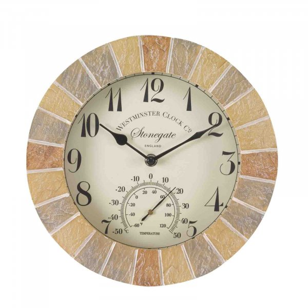 Wall Clock & Thermometer Stonegate 10in