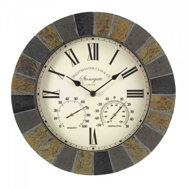 Wall Clock & Thermometer Stonegate 14in