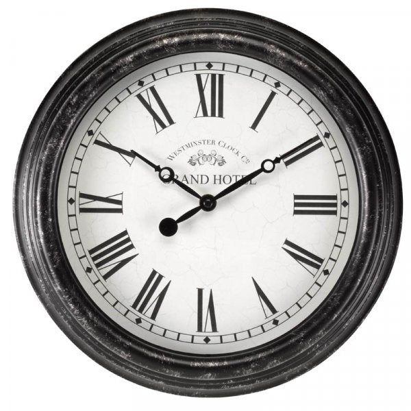 Biarritz Black Silver 12in Wall Clock