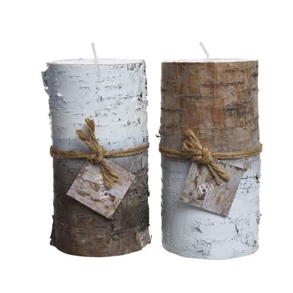 Kaemingk Wax Birch Pillar Candle - 2 Colours Assorted
